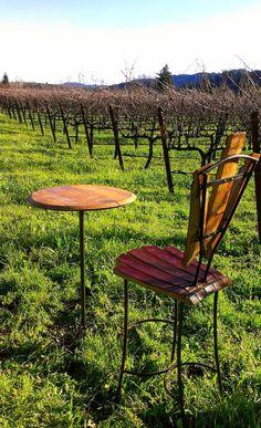 wine barrel bistro chair & table