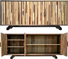 Repurposed boards have a natural aged beauty hard to ignore, particularly when various pieces of variegated color are set alongside one another. Two crafty designers featured on 360 See show how simple, rectilinear, modest and modern furniture forms truly shine when made out of recycled timber strips.