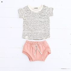 "#customerreviewsaturday ""I will always be in love with this brand of clothes . We've been buying since he was a baby! I literally want another baby just so I can squeeze them in some more childhoods clothing! Lol You rock!"" Thank you @alexiskonopka - you made our day ☺️ [NEW basic tee in 'dash dot' and shorties in 'clay pink'] #childhoodsclothing"