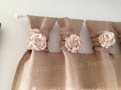 Items similar to Burlap Curtains- Tea dyed rosettes- Wide Tabs on Etsy Ruffle Curtains, Tab Curtains, Ikea Curtains, Drop Cloth Curtains, Burlap Curtains, Boho Curtains, Floral Curtains, Bathroom Curtains, Kitchen Curtains