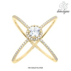 Divine Elegance Sterling Silver Pave Halo X Ring - Assorted Finishes at 89% Savings off Retail!