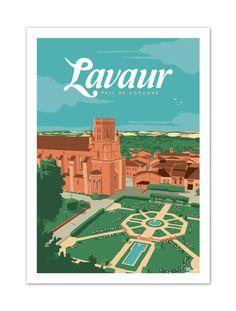 €25 . Affiche illustration originale LAVAUR '' Pays de Cocagne'' . Papier 350g/m² Couché finition Mat