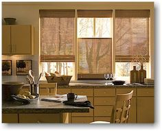 Bamboo curtains for window coverings in home interior Kitchen Curtain Designs, Modern Kitchen Curtains, Kitchen Window Blinds, Kitchen Window Coverings, Blinds For Windows, Kitchen Windows, Window Curtains, Bathroom Designs, Room Window