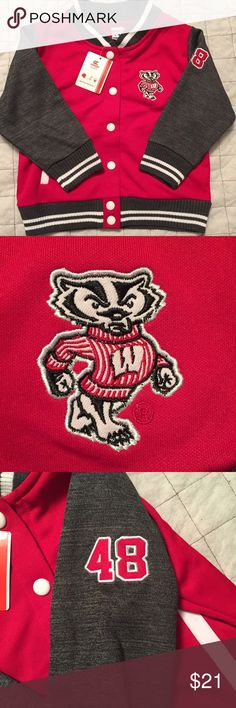 NWT!! Wisconsin Badgers 3T Sophomore Jacket BRAND NEW WITH TAGS!! Retails for $42!!! Wisconsin Badgers sophomore jacket 3T. No stains/tears/flaws. Smoke free home. Jackets & Coats
