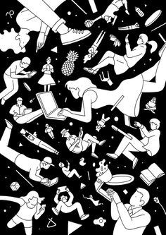 pon-chan.tumblr.com Line Illustration, Character Illustration, Ligne Claire, Illustrations And Posters, Art Plastique, Pattern Art, Cool Drawings, Surface Design, Collage Art