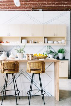 Those chairs though Love this geometric-inspired modern kitchen, designed by Allison Bloom Design of Decorist, and photographed by John Merkl. Decor, Kitchen Interior, Home Decor Kitchen, Kitchen Remodel, Kitchen Decor, Kitchen Dining Room, Home Kitchens, Bohemian Kitchen, Kitchen Design