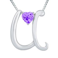 "Sterling Silver Amethyst Letter ""U"" Pendant Necklace,18"" Price: 	$13.98 (SAVE 84%)  http://astore.amazon.com/lucysjewels-20/detail/B004JLMWQG"