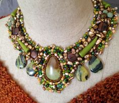 Boho Beaded Necklace Green and Brown Beaded by bjswearableart, $210.00