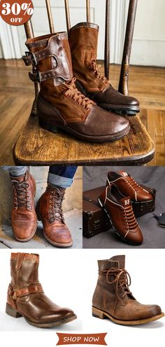 2020 Hot Sale Men& Casual Vintage Shoes On Sale.Hot Style√ Plus Size√Good Quality√ Comfy√Shop now! Leather Lace Up Boots, Biker Leather, Leather Men, Buckle Ankle Boots, Mens Boots Fashion, Vintage Boots, Shoe Boots, Men Casual, Free Shipping