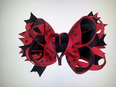 Black and Red Valentine Bow - $5