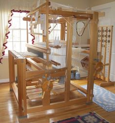 My loom set-up for damask weaving