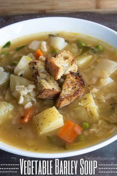 Vegetable Barley Soup with Lemon: a wonderful light, bright, and brothy soup (vegan).