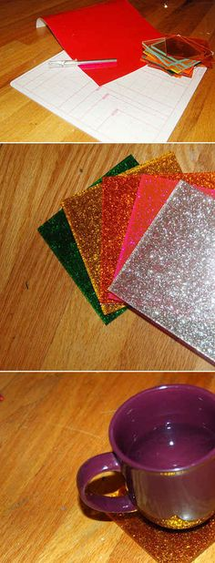 Put a drink on a glitter coaster.
