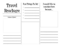SOCIAL STUDIES: Travel Brochure template--students pretend they are visiting an…