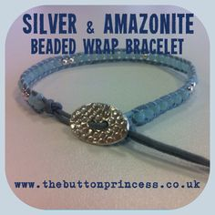 """Another sterling beaded wrist wrap freshly made...   This one consists of 3mm amazonite gemstone beads with a dusting of sterling silver beads and a hand cut and hammered silver button to secure the bracelet...   Love the effect I've managed to achieve on this button, it almost looks like animal print.   The bracelet measures 8"""" long and has two fastenings so there is a choice of sizes ;)   #silver #jewellery #jewelry #handmade #amazonite #buttons #beads #gemstones"""