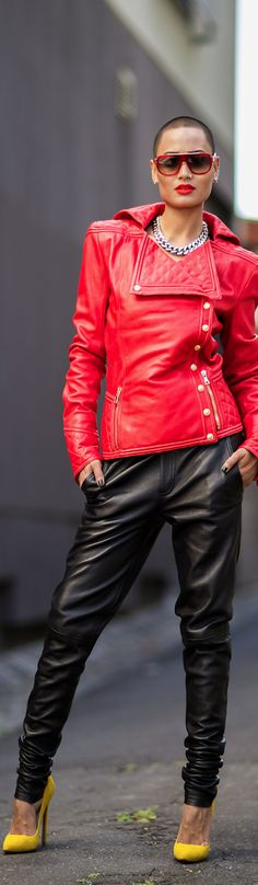 Balmain red leather jacket and black pants