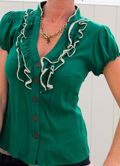SHOP●NOW●MY DAUGHTERS●EBAY●STORE ODILLE Anthropologie top green ruffles button down work 40's pinup rockabilly 8