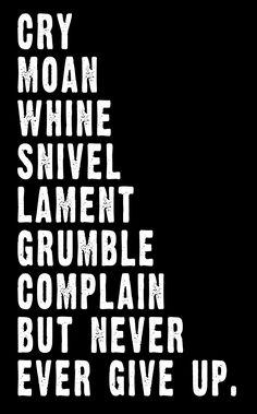 Cry, Moan, Whine, Snivel, Lament, Grumble, Complain, but never ever give up.