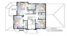Plan de Étage Plan maison Craftsman, poutres bois rustique, 4+ chambres, 4 s. bain, solarium, foyer  - Bainbridge 3