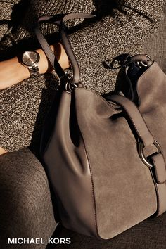 Fall is all about texture and these rich, unexpected hues. A suede bag, especially in this cinder shade, makes any look a little more luxe. –xxMK The Quincy Shoulder Bag is a modern day interpretation of boho chic. The slouchy hobo silhouette showc Tote Handbags, Purses And Handbags, Stylish Handbags, Beautiful Bags, Beautiful Handbags, My Bags, Leather Shoulder Bag, Leather Bag, At Least
