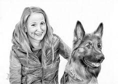 Rysunek ołówkiem, dziewczyna z psem.