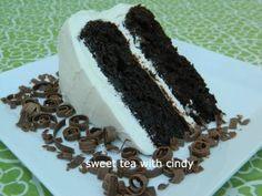 Chocolate Cake with Vanilla-White Chocolate Icing