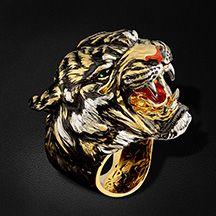 """Мужское кольцо """"тигр"""" с эмалью, турмалином из желтого золота 750 пробы (арт. 36153)"""