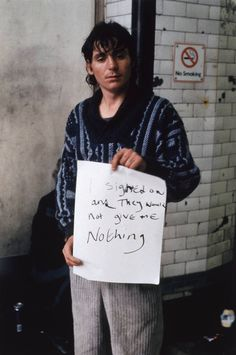 Gillian Wearing OBE ''I signed on and they would not give me nothing'', © Gillian Wearing, courtesy Maureen Paley/ Interim Art, London A Level Photography, Portrait Photography, Conceptual Photography, Photography Ideas, Turner Prize, Social Realism, A Level Art, Political Events, London Art