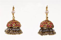 A pair of gold dome shape ear pendants set with rubies and diamonds and suspended pearls Traditional Indian Jewellery, Traditional Earrings, Indian Jewellery Design, Indian Wedding Jewelry, Bridal Jewelry, Gold Jewelry, Jewelery, Antic Jewellery, India Jewelry
