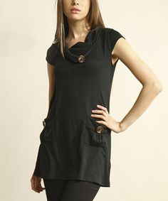 Take a look at this Black Cowl Neck Sweater Dress by Young Threads on #zulily today! $20 !!