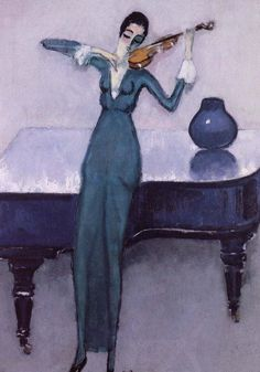 """Ibe Violin Player (1920). Kees van Dongen (Dutch/French, 1877-1968). Oil on canvas.Musee d'art Moderne Liege.Van Dongen cut a flamboyant figure in Paris. His lifestyle was controversial, his lavish nightly studio parties were attended by film stars, masqued politicians and artists. """"Woman"""" was his muse, her body his landscape, and the young Brigitte Bardot his most famous model."""