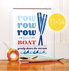 Row Your Boat 11 x 14 Giclee Print  ///  Nursery Classics Collection. $28.00, via Etsy.