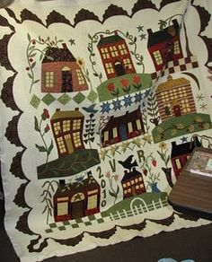 Imagine a quilt of favorite places in my home town . . Log house, school, the factory, the Maples, Old firehouse, Hardware store, church, etc,