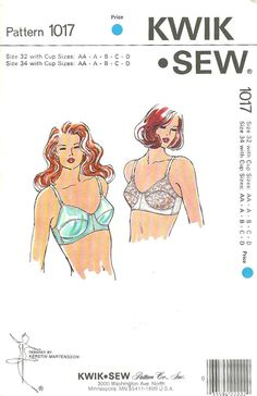 3c98bdce22 Kwik Sew 1017 Misses Designer Bra Pattern Womens Vintage Lingerie Sewing  Pattern Size 32 AA - 34 D Uncut