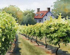 Vineyard Art Print  Napa Vineyard  by DJRogersWatercolors on Etsy