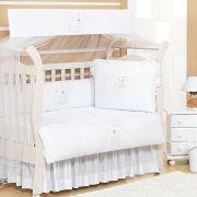 Kit Berço Americano Enxoval Bebê com Mosquiteiro Brilhante Imperialle Meninos e Meninas Branco 1,60m x 1,05m 08 Peças