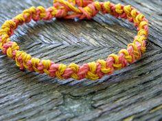 Coral and Gold Hemp Bracelet by PeaceLoveNKnottyHemp on Etsy, $6.00