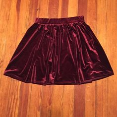 Burgundy velvet skater skirt Worn once to a Christmas party last year, perfect condition Garage Skirts Circle & Skater