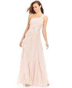 Adrianna Papell One-Shoulder Tiered Chiffon Gown - Modern Mix & Match - Women - Macy's