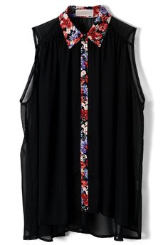 Floral Collar Chiffon Black Top