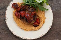 Sweet Potato Hummus + Lamb Cutlets