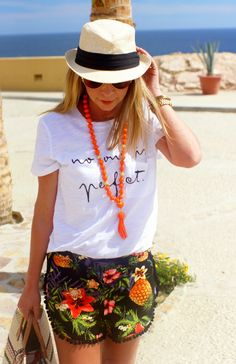 Tropical Pom Pom Shorts | Beach Vacation | Because Shanna Said So