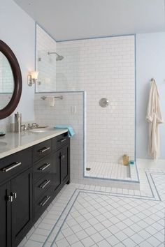 Super semi-private option for our shower.  traditional bathroom by Gaspar's Construction