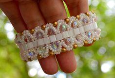 White Tila Bead Beadwoven Cuff Bracelet by UNAMORENAstudio on Etsy