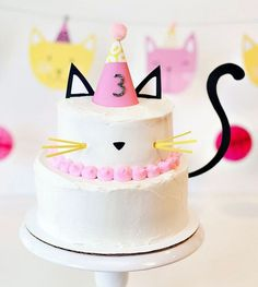Modern kitty cat birthday cake with free printable cake toppers and tail! Cute for a kitty cat birthday party and easy to make. Birthday Cake For Cat, First Birthday Parties, Birthday Party Themes, Girl Birthday, First Birthdays, Kitten Birthday Parties, Birthday Decorations, Grumpy Cat Birthday, Kitty Party Themes