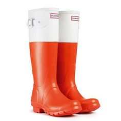 Hunter Original Colorblock Rain Boot White Orange US Women Size 11 Wellies Boots, Hunter Rain Boots, Shoe Boots, Shoes, Hunter Wellington Boots, White Rain Boots, Kids Boots, Hunter Original, Orange