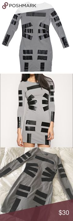 Duct Tape BodyCon Dress by Cheap Monday NWOT slim-fitting jersey dress with printed duct tape inspired lines to contour the body. Cheap Monday Dresses Long Sleeve