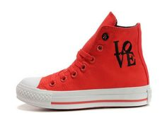 381f9bc09a06e8 Converse Chuck Taylor All Star Korea Style Red Love Letter High Top Canvas  Shoes