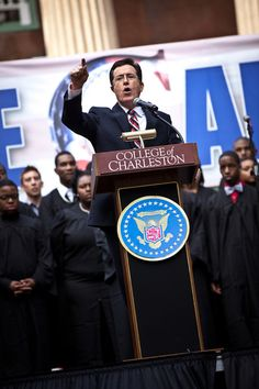 """Stephen Colbert at the """"Rock Me Like a Herman Cain South Cain-olina Primary Rally""""."""