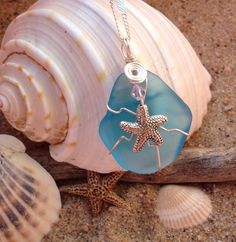 296 Starfish on turquoise Seaglass with silver